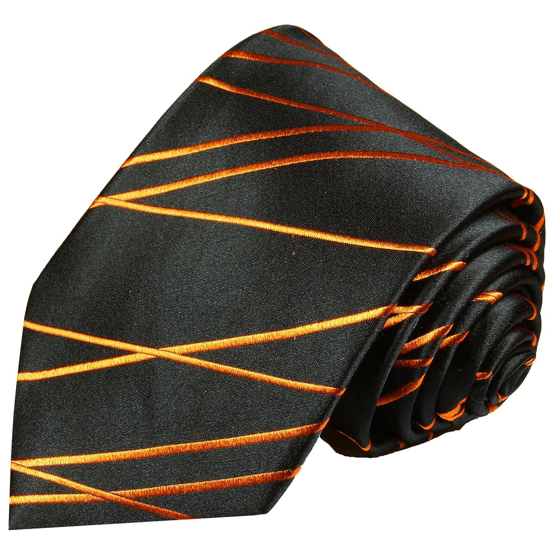 Paul Malone corbata de seda rayas negro anaranjado: Amazon.es ...