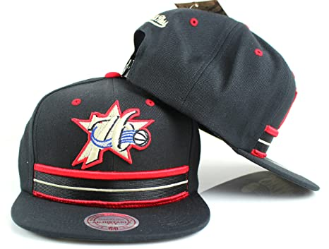 31ed5f3a951 Image Unavailable. Image not available for. Color  Mitchell   Ness  Philadelphia 76ers NBA Uniform Detail Snapback Hat Black