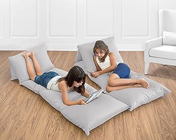 Amazon.com : Sweet Jojo Designs Grey Kids Teen Floor Pillow Case ...