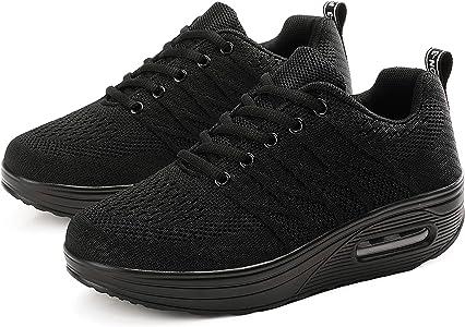 Mujer Tejer Respirable Andar Malla Zapatilla de Deporte Running Zapatillas Sacudir Casual Zapatos Sneakers: Amazon.es: Zapatos y complementos