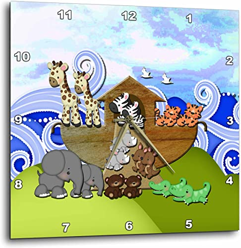 3dRose DPP_195835_3 Animals on Ark Wall Clock, 15 by 15