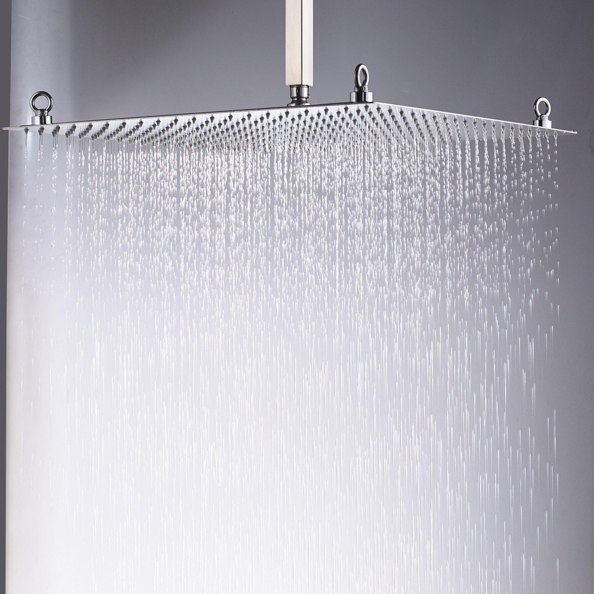 Rozin Bathroom Square 20-inch Rainfall Top Shower Head Overhead Spray Brushed Nickel