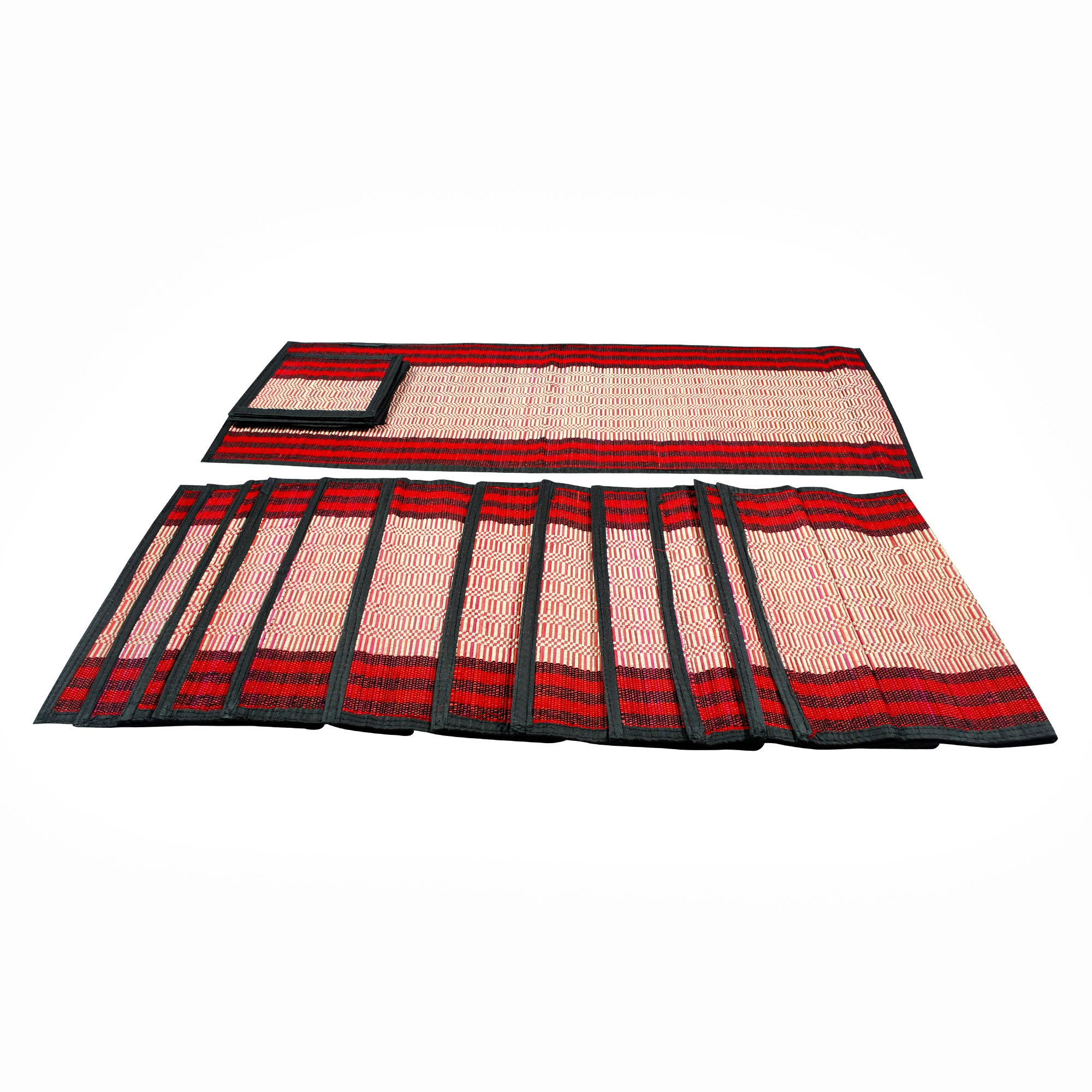 RoyaltyRoute Table Runner Place mats Tea Coaster Set of 6 (1+6+6) Multicolored Dining kitchen Linen Hand-Woven décor Gift