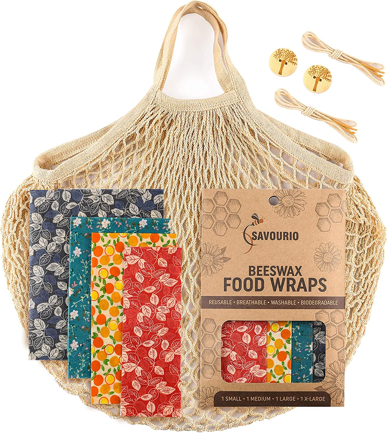 Beeswax Wrap - Bees Wrap Reusable Food Wrap - Bee Wax Wrap - Beeswax Wraps for Food - Beeswax Bread Wrap - Cheese Storage Bags - Sustainable Products