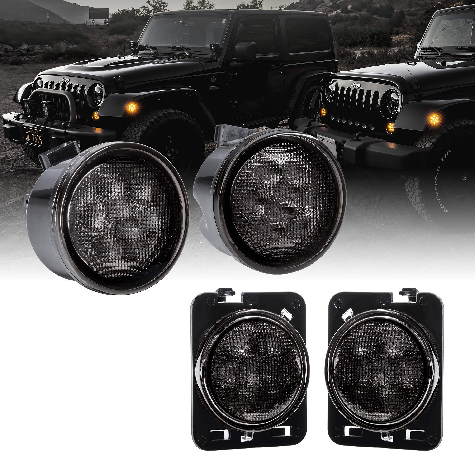 LED Turn Signal & Side Marker Light Replacement for Jeep Wrangler [Smoked Lens] [Amber] LED Light Kit Compatible with Jeep Wrangler JK & Unlimited 2007-2018 Accessories