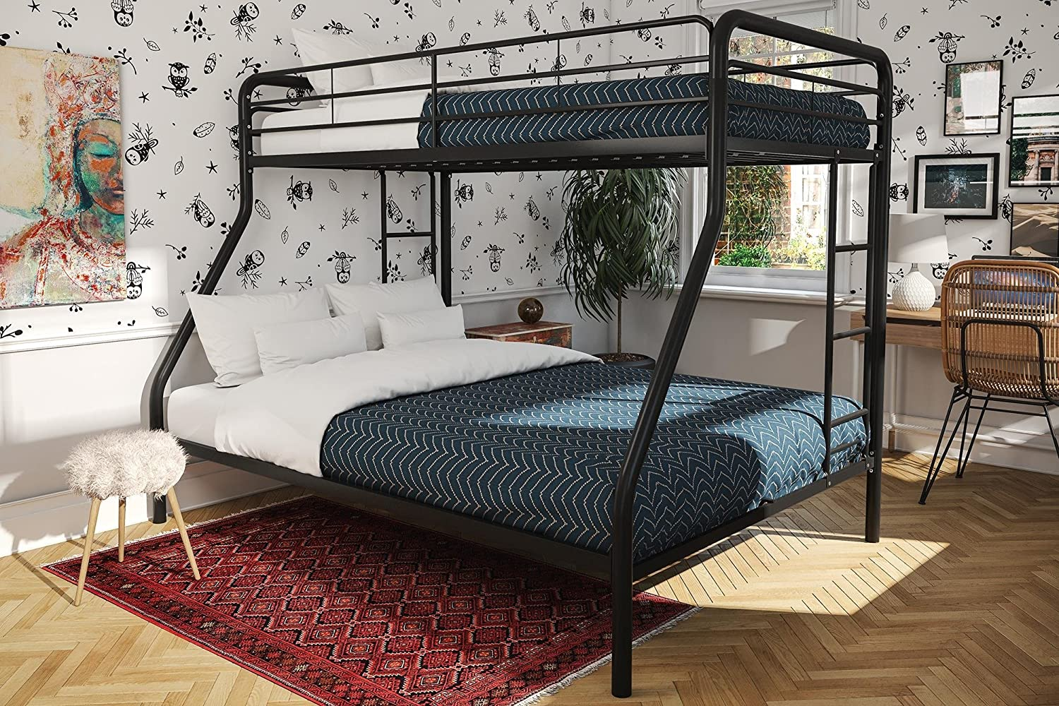 Bunk Beds for Kids Twin Over Full Boys Metal Ladder Bedroom Furniture Dorm  College Home Children Space Saver Sleeper