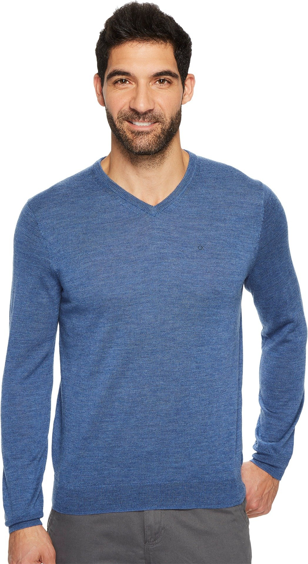 Calvin Klein Men's Merino V-Neck Sweater, Shuttle Heather Blue, Small