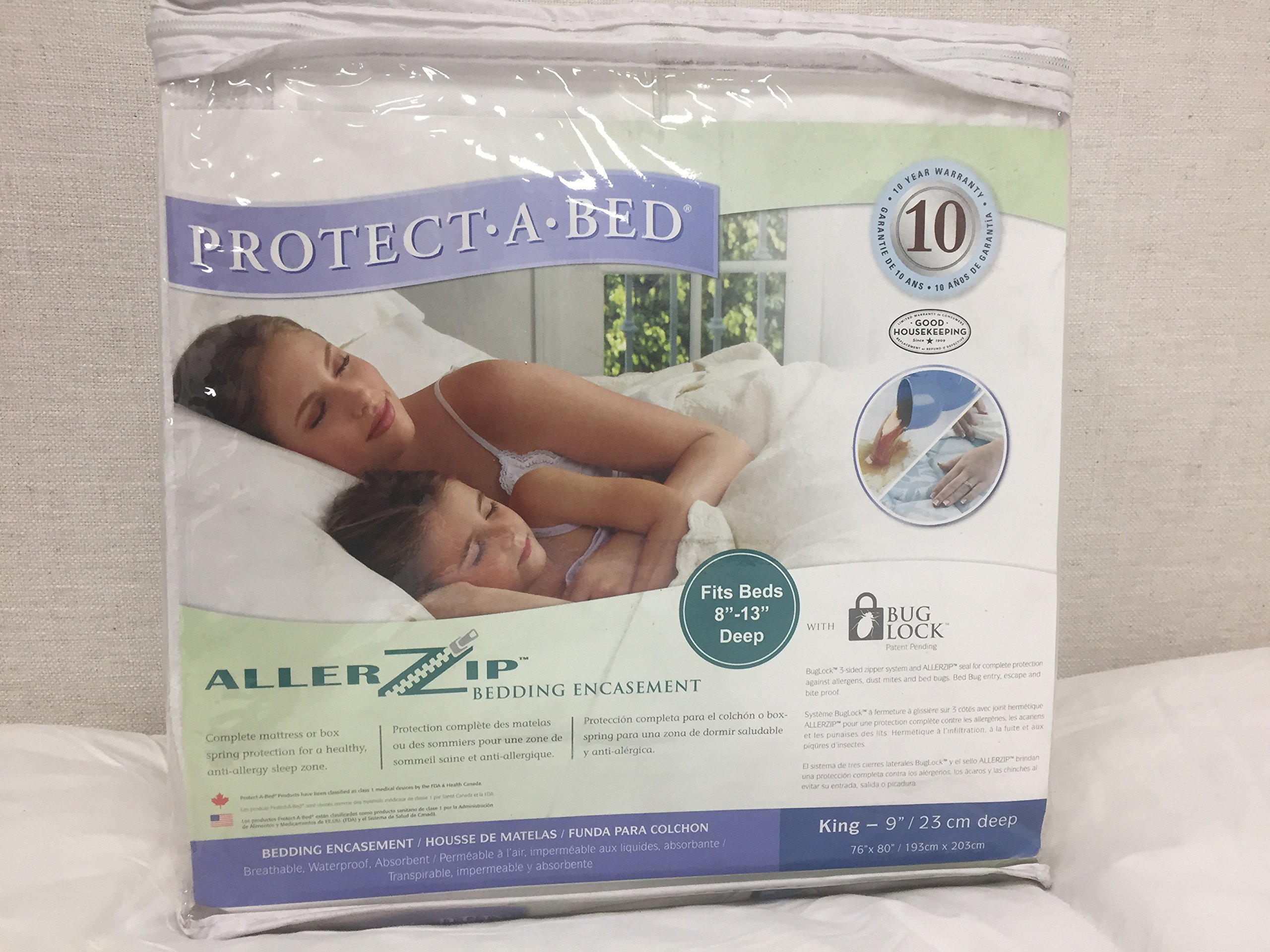 Protect-A-Bed Allerzip Mattress Encasement, King-9'': 76''x80'' (Fits Beds 8''-13'' Deep)