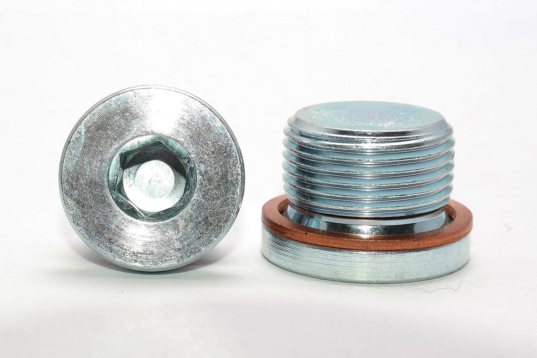 Verschlussschrauben mit Zollgewinde und Kupferdichtung DIN 908 Stahl galv verzinkt Blindstopfen in Verzinktem Stahl 1 St/ück G 1//8