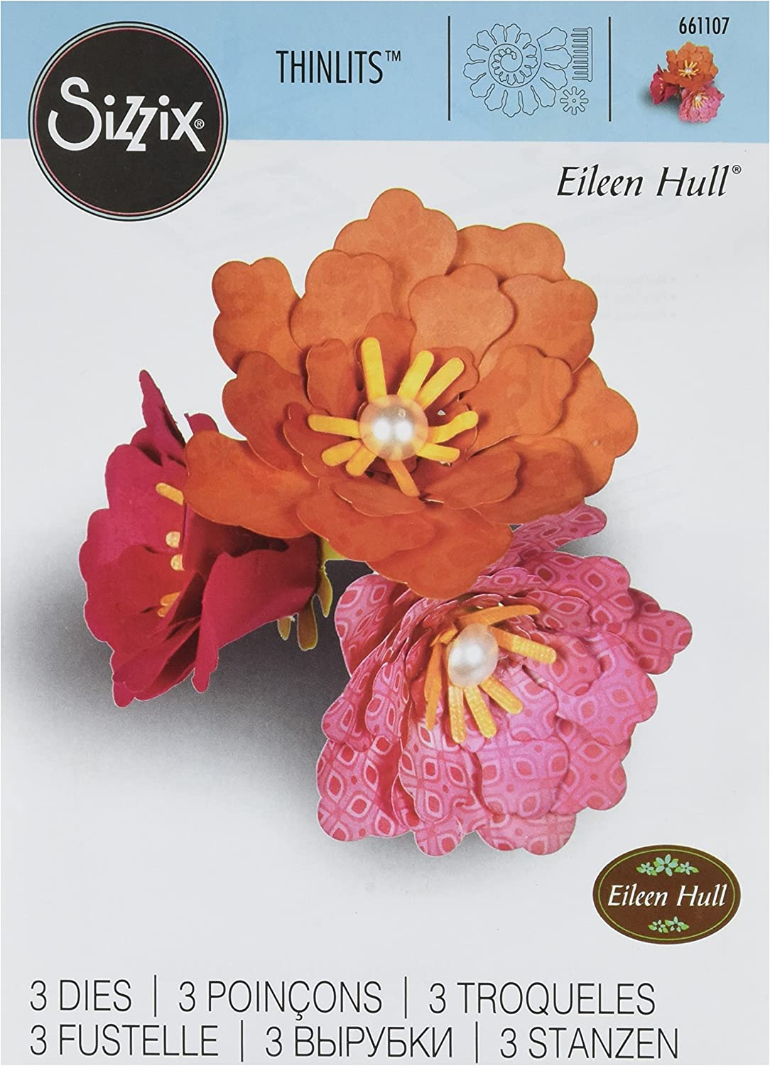Sizzix Thinlits Die Set, Flower, Rolled by Eileen Hull, 3-Pack