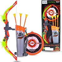 WISHKEY Sports Super Archery Bow and Arrow Set with Dart Target Board, Colourful with 3 Suction Cup Tip Arrows