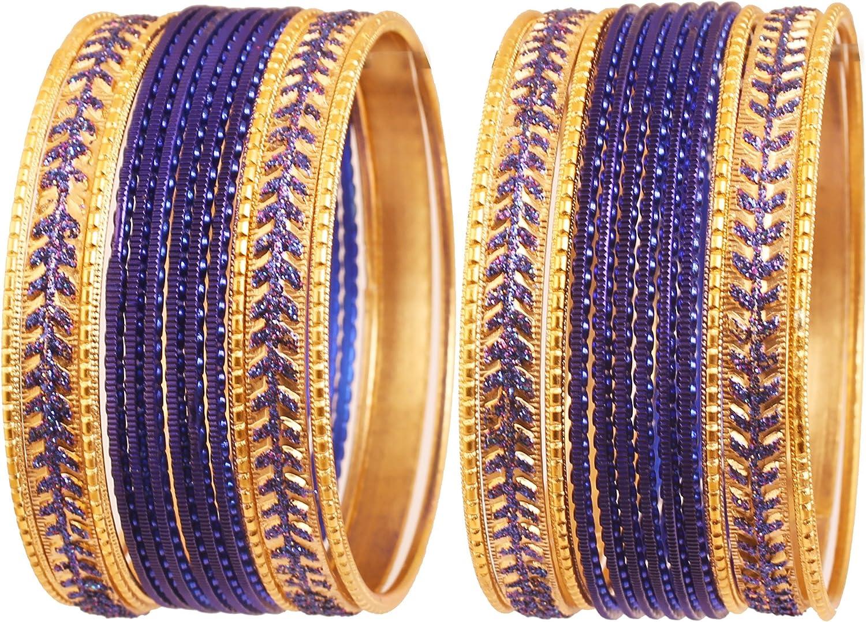 Touchstone Colorido metálico 2 docenas de brazaletes de la colección joyería de Hollywood India Pulseras Especiales para Mujer Conjunto de 2