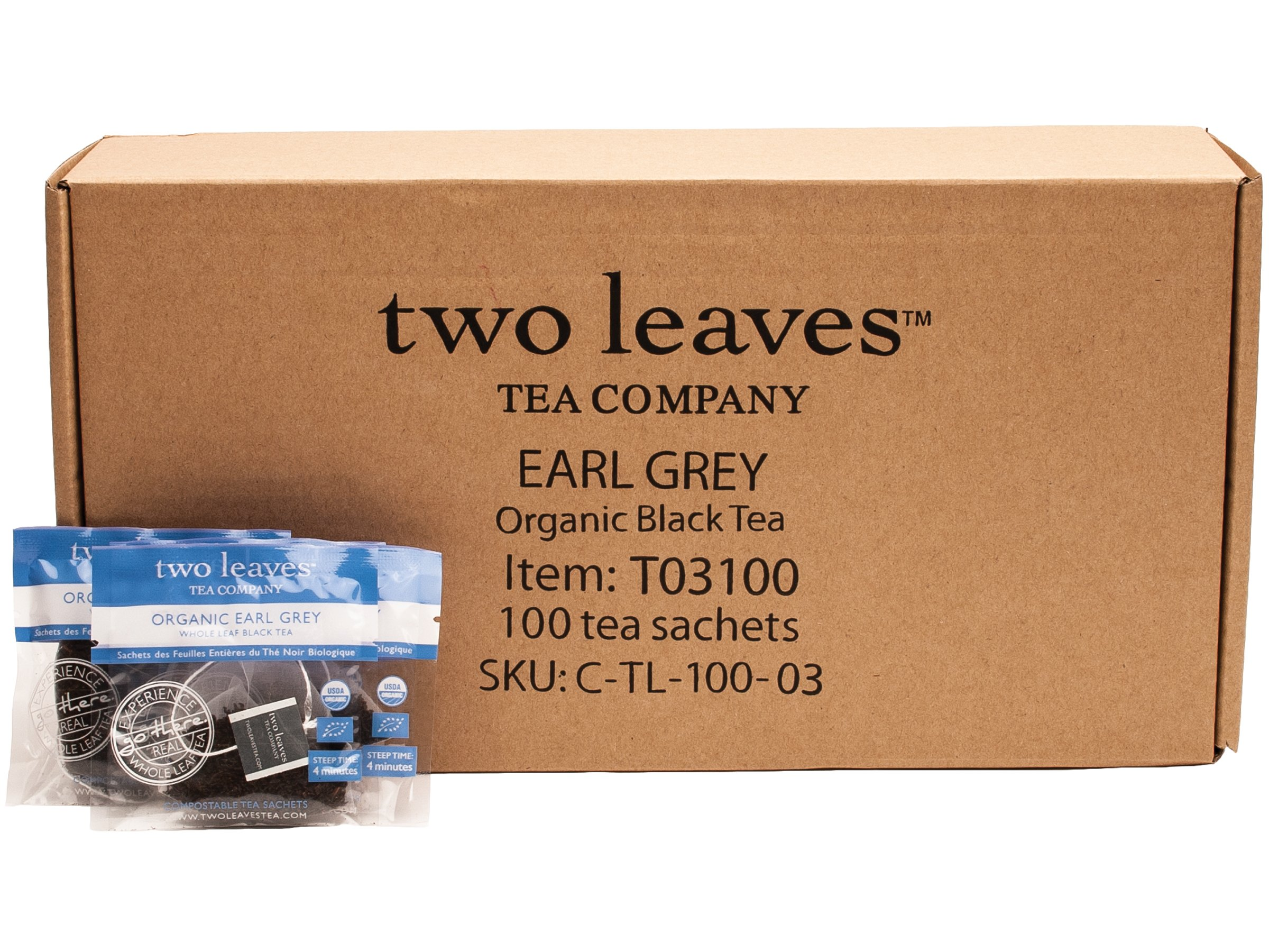 Two Leaves and a Bud Organic Earl Grey Black Tea Bags, 100 Count, Organic Whole Leaf Full Caffeine Black Tea in Pyramid Sachet Bags, Delicious Hot or Iced with Milk, Sugar, Honey or Plain by Two Leaves and a Bud