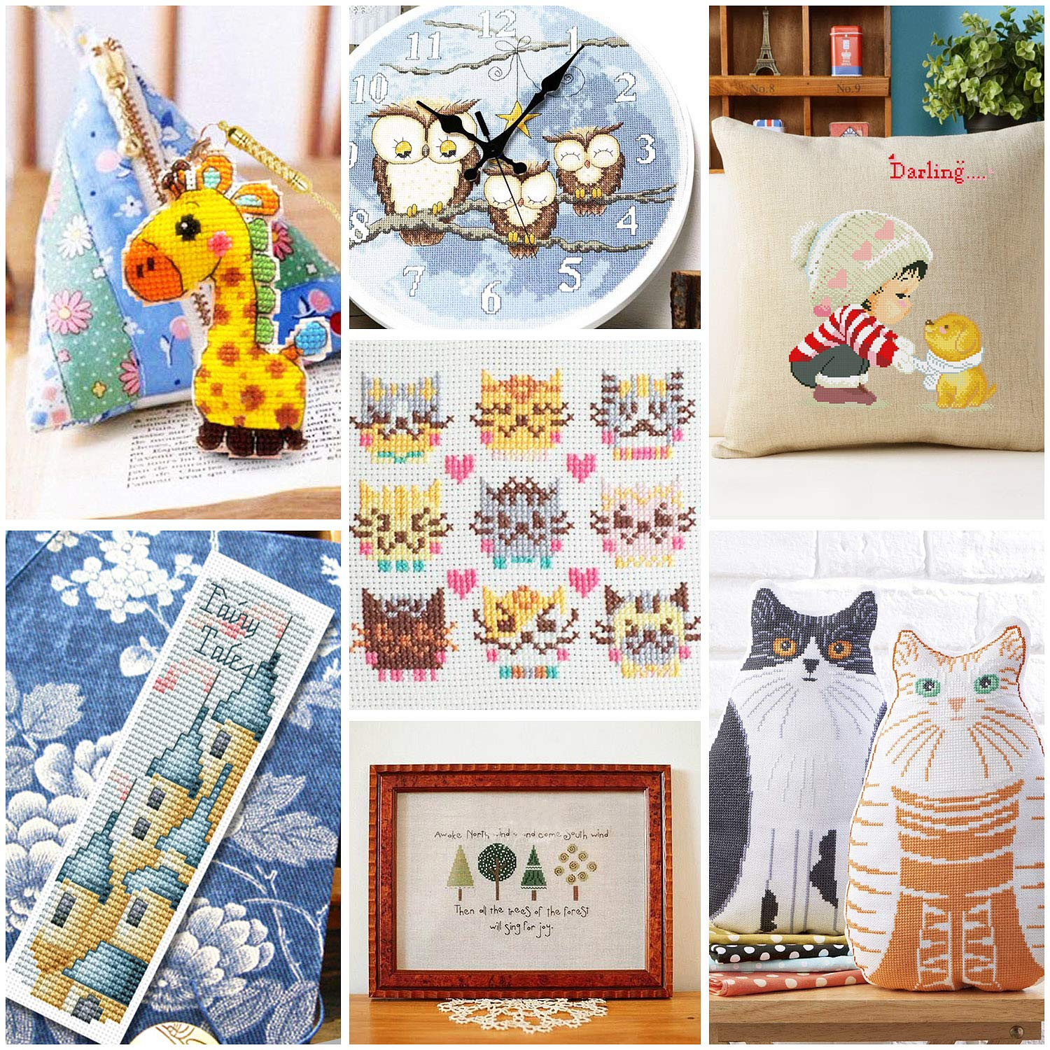 2/ PCS/ 11.8/ inches/ Aida/ Cloth and Needles Set Cross Stitch Kits Including 5 PCS Bamboo Hoops Hohoto Embroidery kit 100 Color Threads