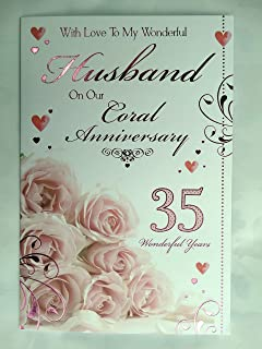 for a special mum dad on your 35th coral anniversary rose design