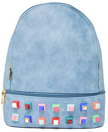 Bolsos mochila mujer polipiel con tachuelas, mochilas mujer, mochila polipiel. (Azul): Amazon.es: Equipaje