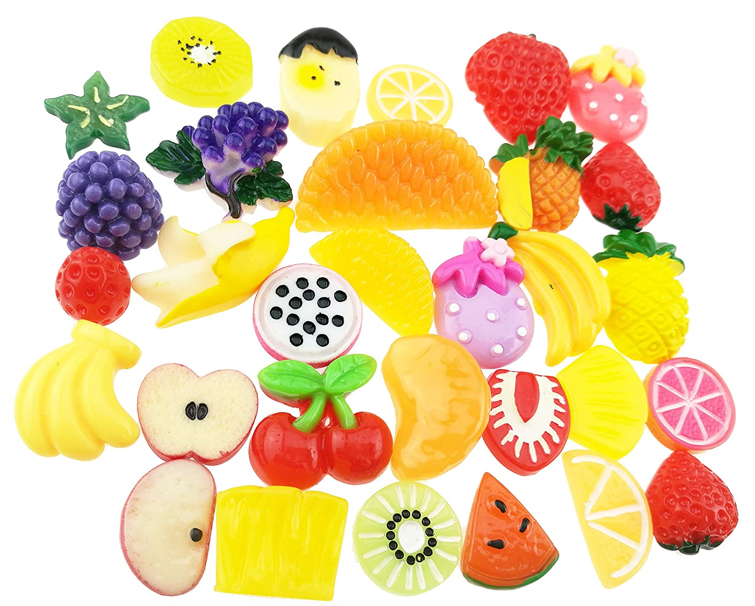 30 Pieces Cute Fashion Mixed Resin Flatback Diy Handwork Imitation Fruit Cellphone Decoration Beads Button Embellishments