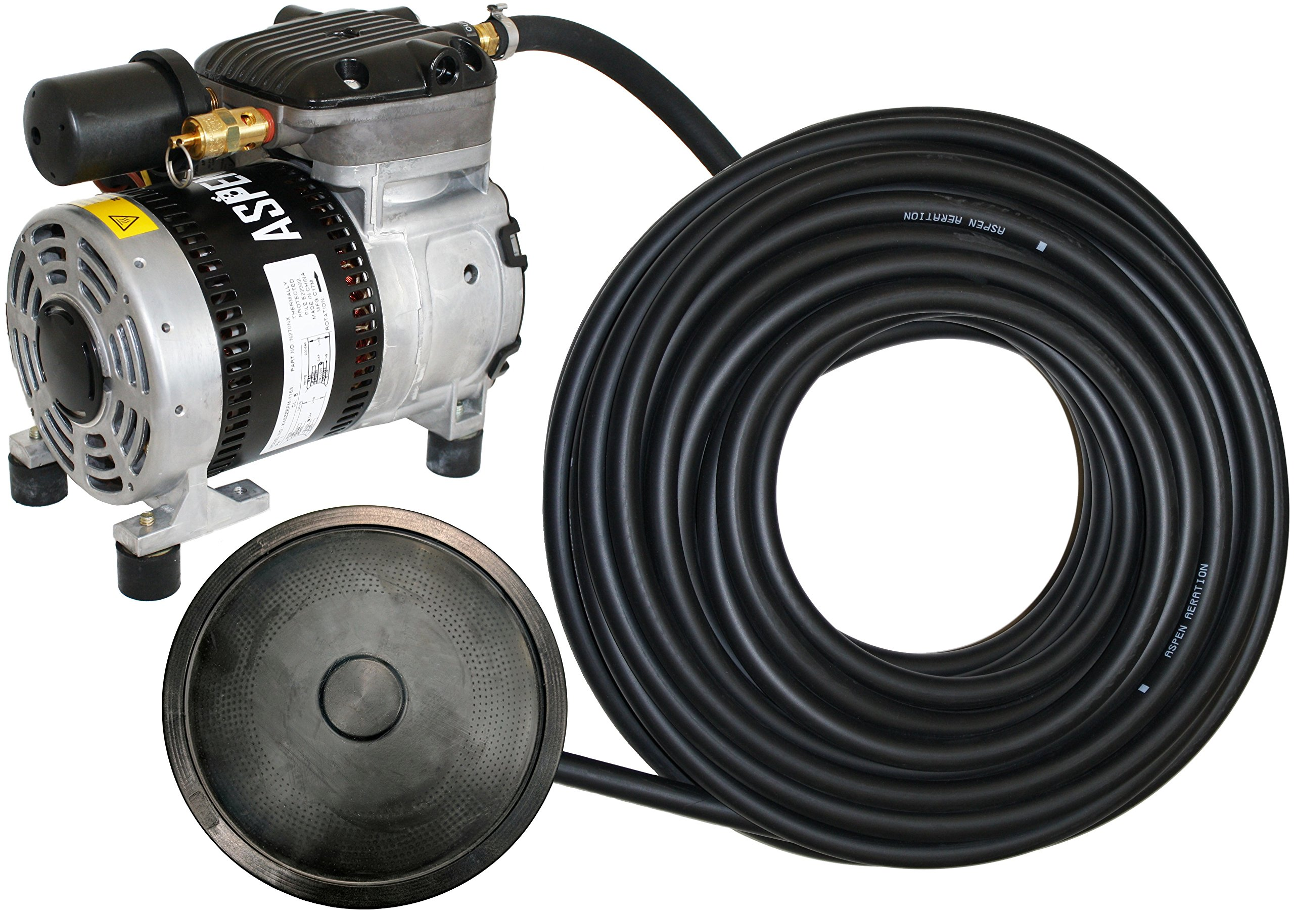Value Pond Aeration Kit | Improve Water Quality | 1/4 Hp Rocking Piston Aerator + 100' of Weighted Tubing + Self Sink Diffuser by Aspen Aeration Systems