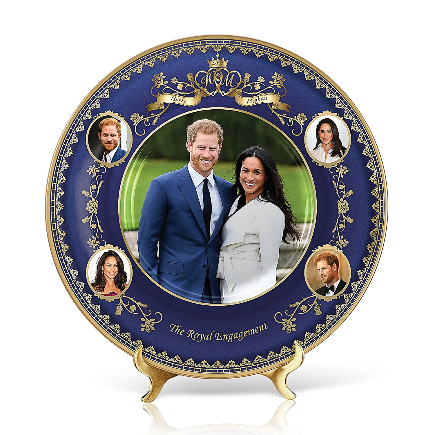 The Bradford Exchange 'The Royal Engagement' Prince Harry & Meghan Heirloom Porcelain® Plate –Commemoration Collector's Plate with 24-carat gold-plated accents. Exclusive to