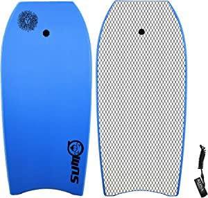 KONA SURF CO. Sumo Body Board Lightweight Soft Foam Top Boogie Bodyboard Package Includes Premium Wrist Leash