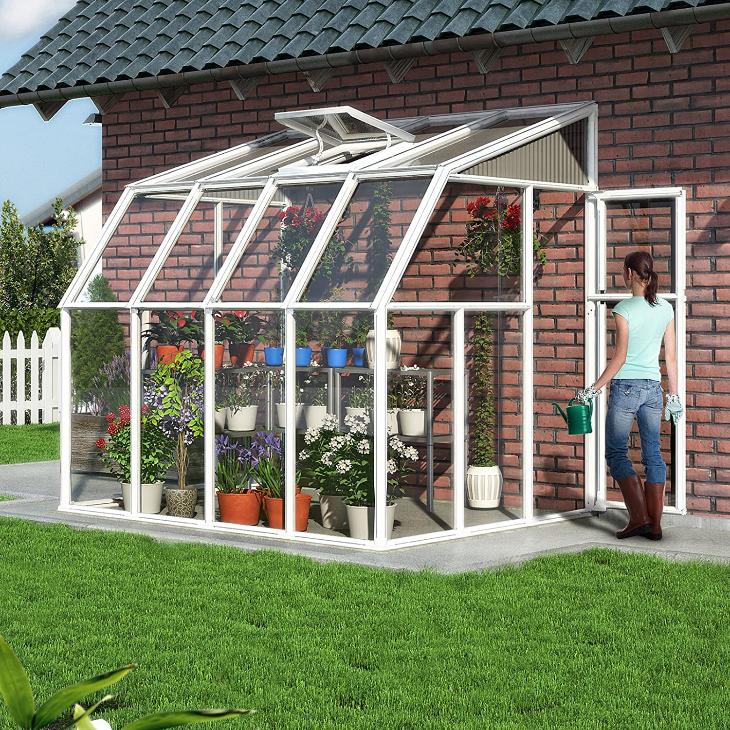 amazon com rion sun room 2 greenhouse 6 u0027 x 8 u0027 garden u0026 outdoor