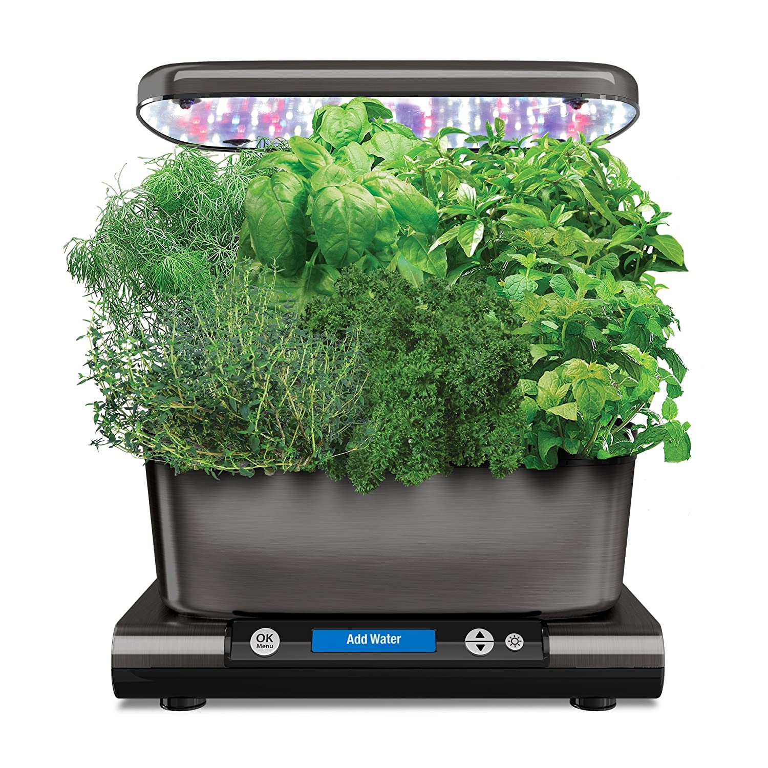AeroGarden Harvest Elite (Classic) with Gourmet Herb Seed Pod Kit, Platinum Aerogrow 901052-1200