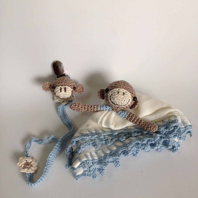 Conjunto de trapito de apego Doudou y chupetero de Monito Azul para bebés . Hecho a mano. Un regalo original para recién nacido.