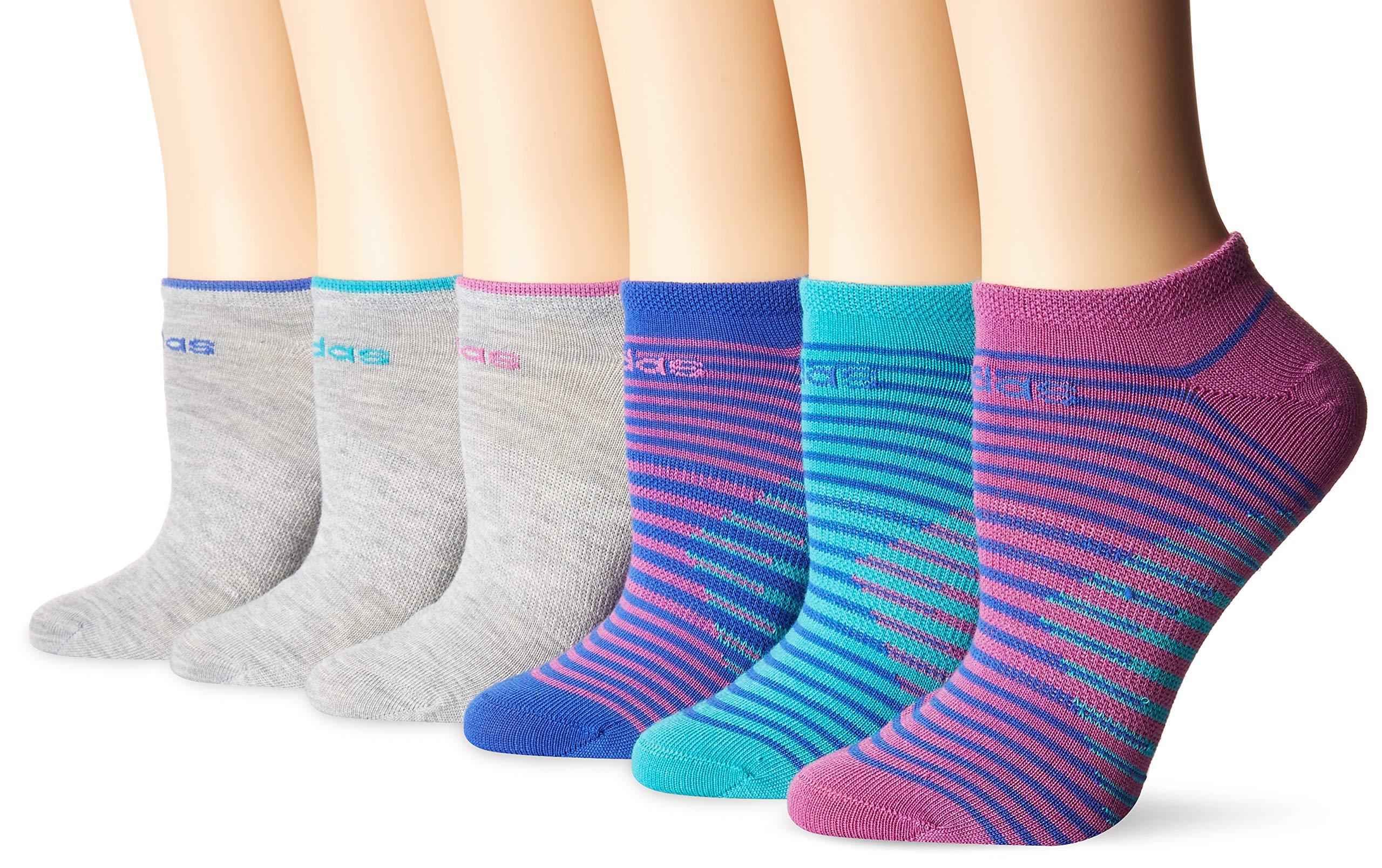 adidas Youth Kids-Girl's Superlite No Show Socks (6 Pair), Hi - Res Aqua Green/Hi - Res Blue/Joy Orchid Pink/Ligh, Medium, (Shoe Size 13C-4Y) by adidas