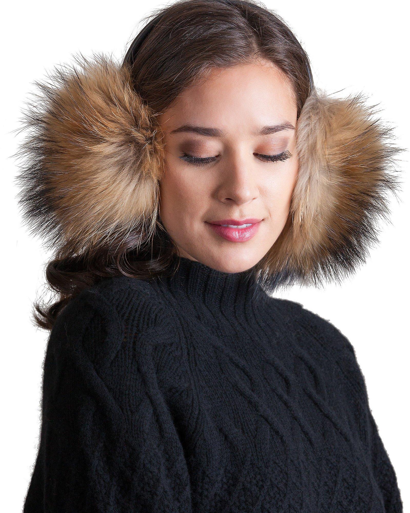 Finn Raccoon Fur Earmuffs by Overland Sheepskin Co (Image #1)