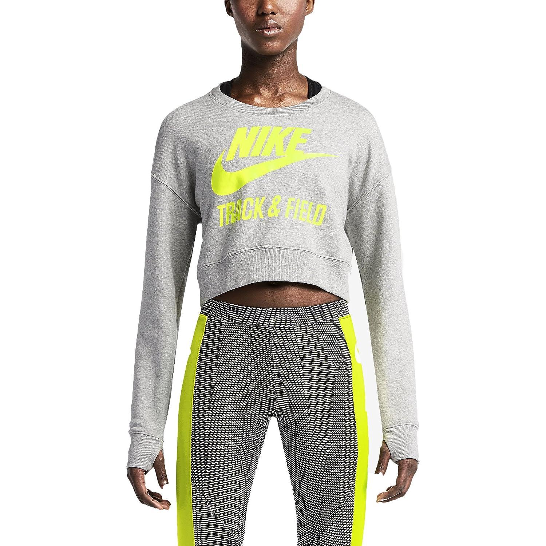 Amazon.com : Nike Women's Track & Field Crew Crop Sweatshirt-Grey/Volt-Medium  : Sports & Outdoors