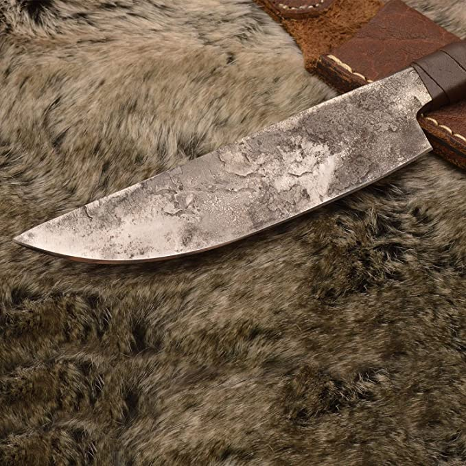 Norse Tradesman Viking Knife With Ravens Head Hilt & Leather Sheath - 5.5