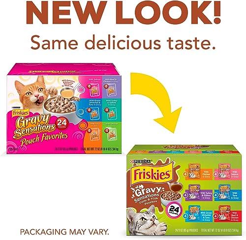 Purina Friskies Gravy Wet Cat Food Variety Pack, Gravy Sensations Farm Fish Pouches – 24 3 oz. Pouches