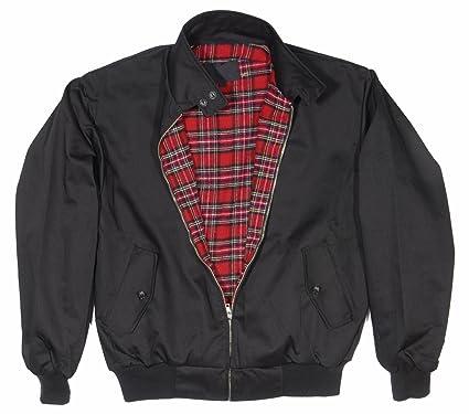 Black bomber jacket with red tartan lining
