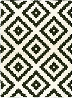 Ikea LAPPLJUNG RUTA - Tapis, poil ras, blanc/noir - 200x300 cm ...