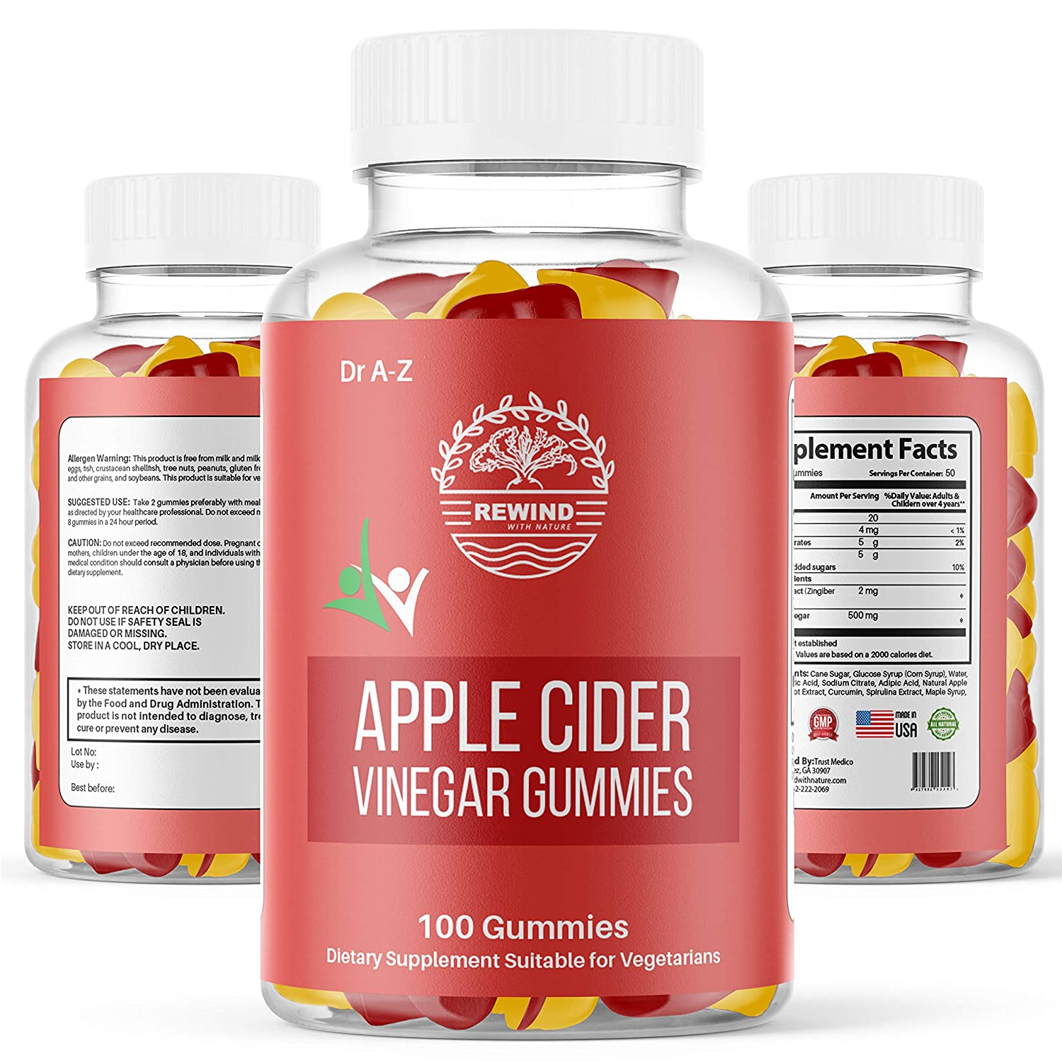 Apple Cider Vinegar Gummies, Pack 100% Nature's Pure Raw Organic Unfiltered ACV Gummies For Weight Loss Detox, Cleanse With The Mother ACV Gummy, No Harsh Taste Liquid, Capsule, Pills ACV Dr A-Z