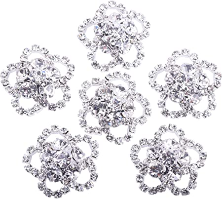 KAOYOO 10Pcs Crystal Rhinestone Flowers Embellishments Buttons,Sew on Buttons for DIY,Decoration(23mm)