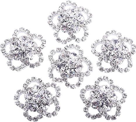 10pcs Crystal Red Rhinestone Leaf Buttons Flatback Embellishments DIY Crafts