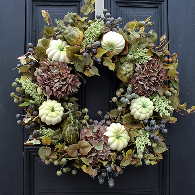 Darby Creek Trading Autumn Hydrangea, Gooseberry, White Pumpkins, Fall Leaves Front Door Wreath