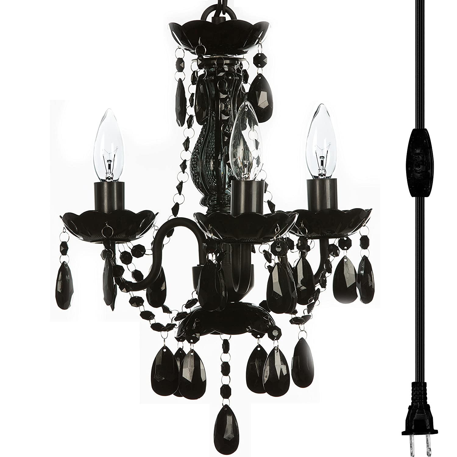 The original gypsy color 3 light mini plug in black chandelier for h17 w12 black metal frame with black acrylic crystals