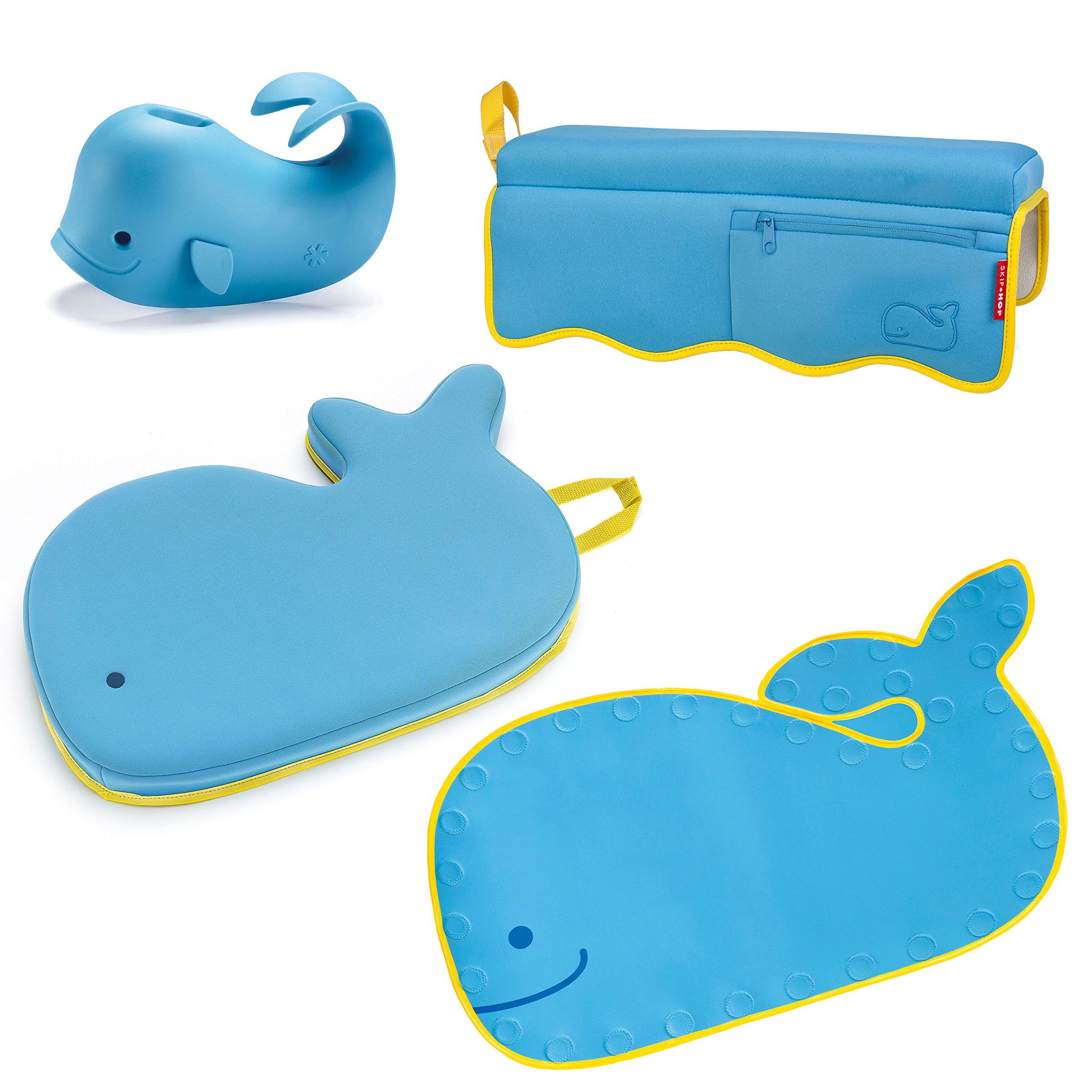 Skip Hop Moby Baby Bath Set, Four Bathtime Essentials - Spout Cover, Bath Kneeler, Elbow Pad, And Bath Mat, Blue