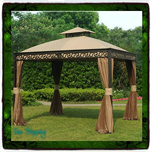 Gazebo Metal Steel 10 X 12 Roof Outdoor Patio Aluminum Canopy Tent Party W Poles Sunjoy Pergola Arbor Arch Deck Shade Sun Grill New Guarantee with Its Only Ebook