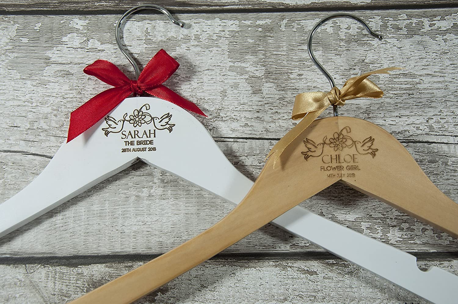 Wedding Bridal Party Gift Dress Personalised White Wooden Hanger and Vinyl