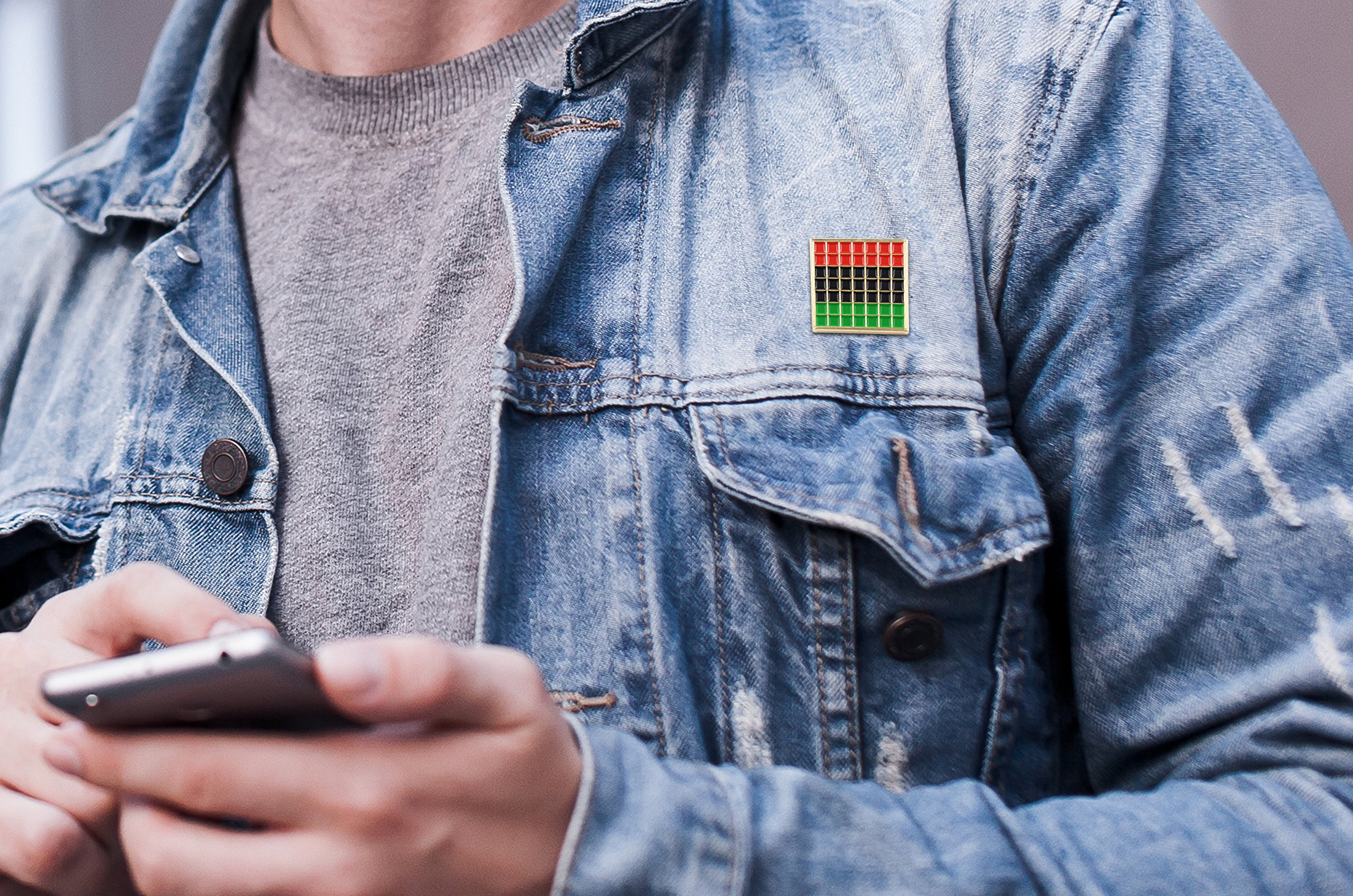 Pan African Pride Flag Enamel Pin - Black Lives Matter Lapel Pin Collection by Real Sic - Premium Grid Pins Series by Real Sic (Image #3)
