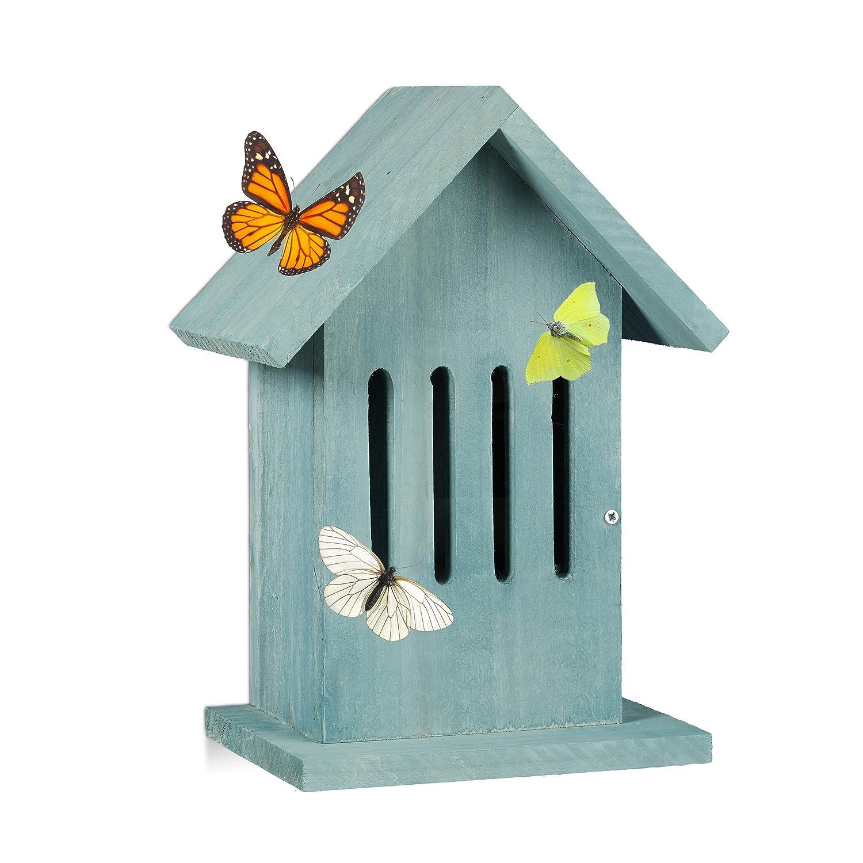 Relaxdays Schmetterlingshaus hängend, Insektenhotel für Garten, Balkon, Distelfalter, HxBxT: 25,5 x 18,5 x 12 cm, türkis türkis 10020741_56