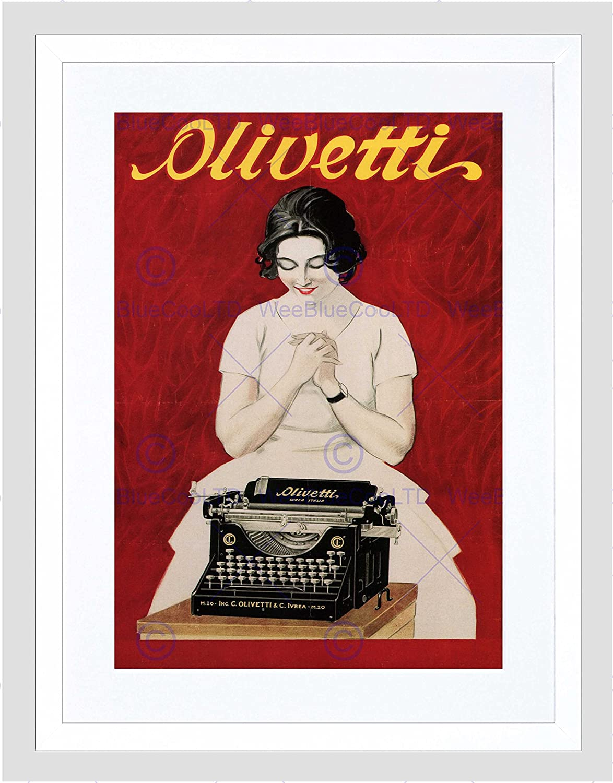 Comercial anuncio Vintage máquina escribir Olivetti Italia Framed Art Print B12 X 4234 12 x 16 in - 30.5 x 40.7 cm blanco: Amazon.es: Hogar