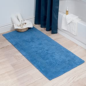 Cotton Bath Mat- Plush 100 Percent Cotton 24x60 Long Bathroom Runner- Reversible, Soft, Absorbent, and Machine Washable Rug by Lavish Home (Blue)