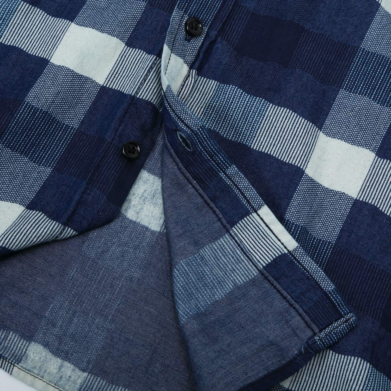 Doufine Mens Woven Tops Plaid Oversized Denim Button-Down-Shirts