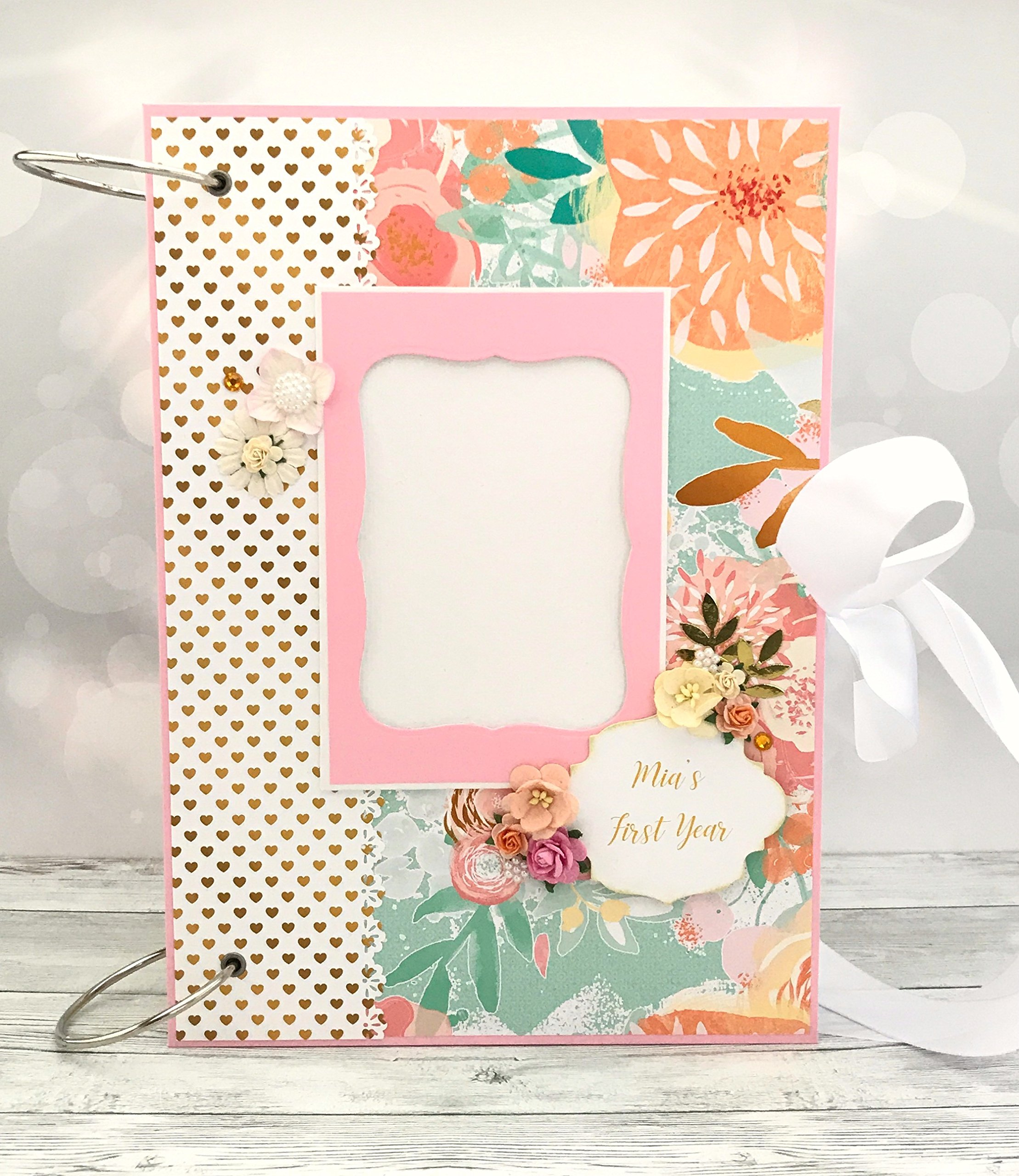 Kristabella Creations Baby girl peach and mint scrapbook album, size A4 8x11 inches, Metal ring binding, 20 decorated inside pages, Interactive, Month cards, Milestone card, Beautiful baby shower gift