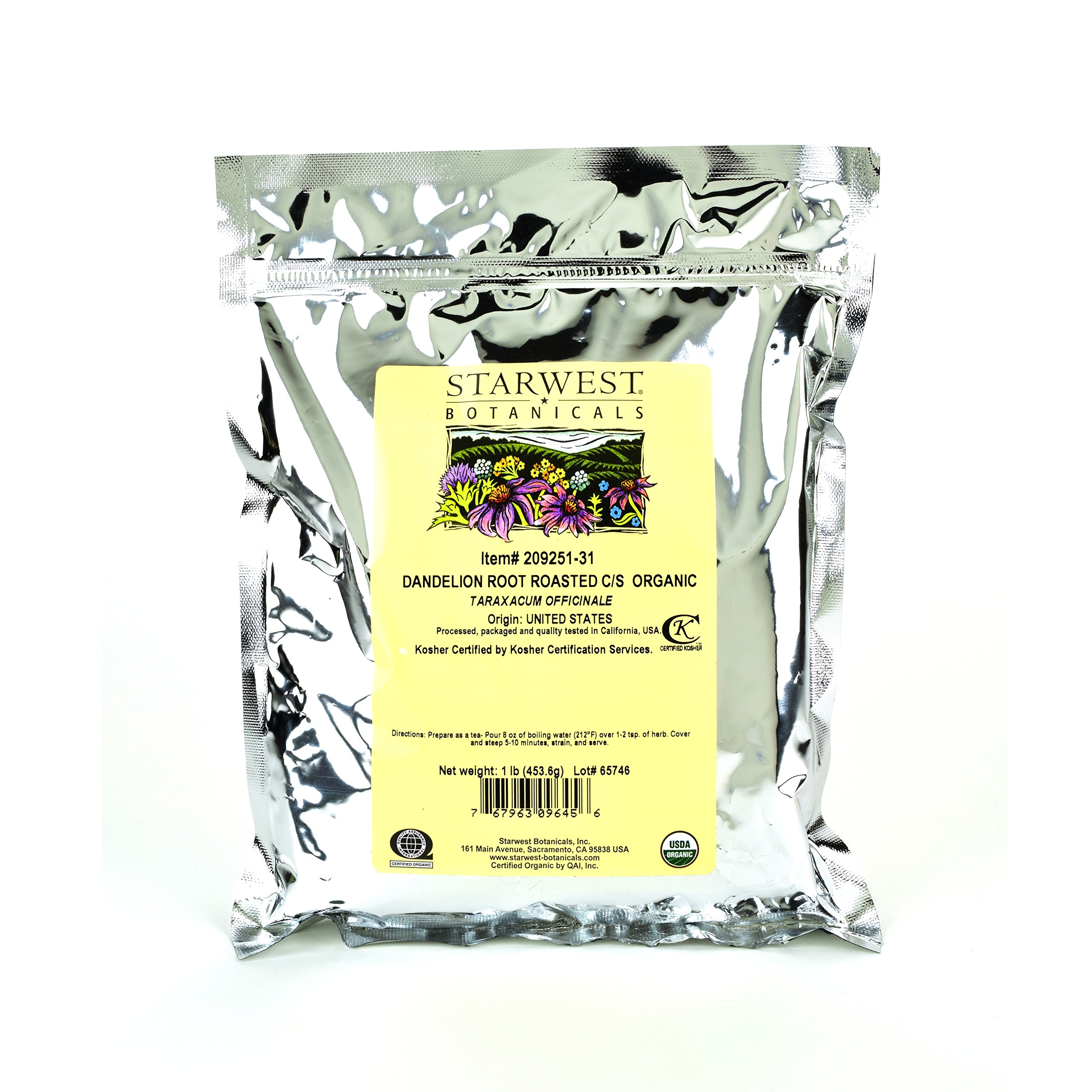 Starwest Botanicals Organic Dandelion Root Roasted Cut [1 Pound] Loose Tea in Bulk by Starwest Botanicals