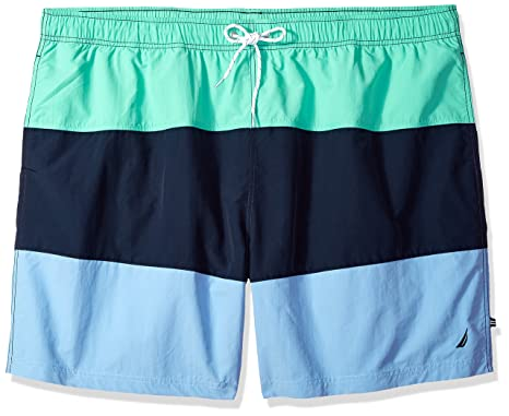 55d59c3ab3 Nautica Men's Big and Tall Quick Dry Color Block Swim Trunk (T71007) |  Amazon.com